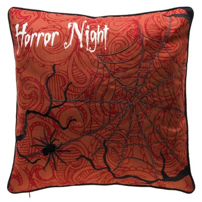 Horror Night halloween Throw Pillow Color: Orange