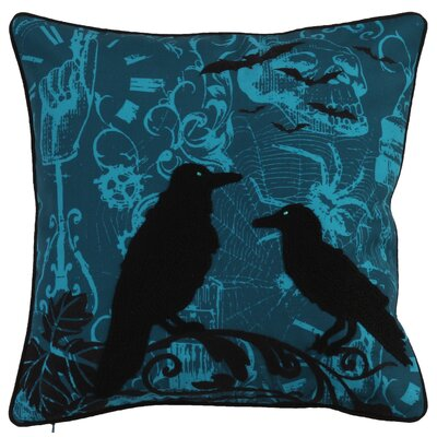 Halloween Crow Throw Pillow Color: Blue