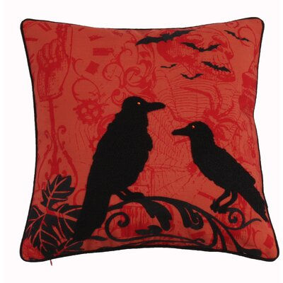 Halloween Crow Throw Pillow Color: Orange
