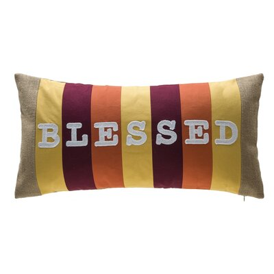 Blessed Stripe Patchwork 100% Cotton Lumbar Pillow