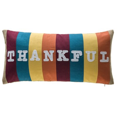 Thankful Stripe Patchwork 100% Cotton Lumbar Pillow
