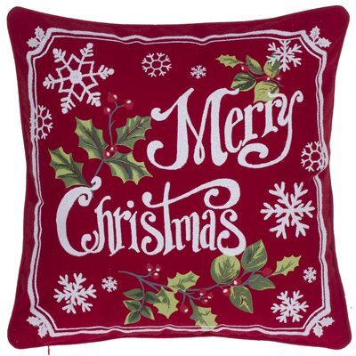 Broadbent Merry Christmas 100% Cotton Throw Pillow