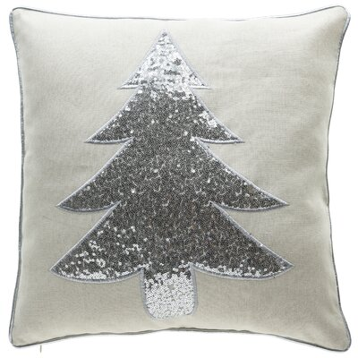 Christmas Tree Throw Pillow Color: Sliver