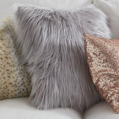 Snow Leopard Faux Fur Throw Pillow