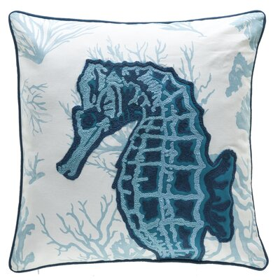 Burley Seahorse Crewel Stitch 100% Cotton Throw Pillow Color: Blue