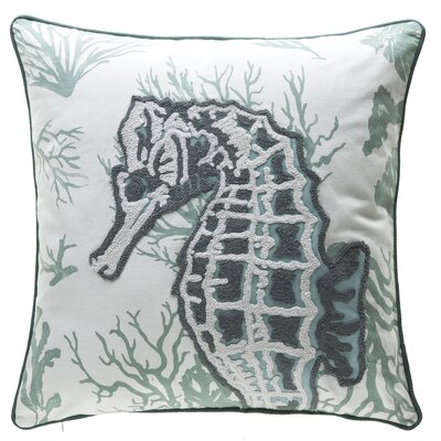 Burley Seahorse Crewel Stitch 100% Cotton Throw Pillow Color: Gray