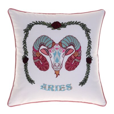 Horoscope Aries 100% Cotton Throw Pillow