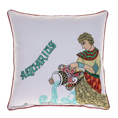 Horoscope Aquarius 100% Cotton Throw Pillow