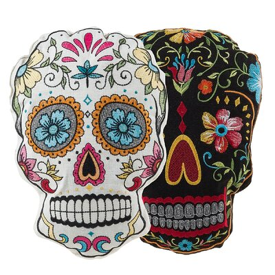 2 Piece Sugar Skulls Throw Pillow Set