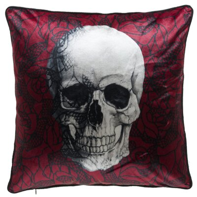 Scarlet Skull Throw Pillow