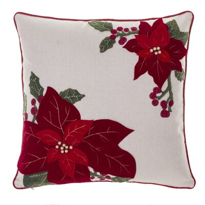 Poinsettia and Holly Throw Pillow