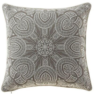 Embroidered Cotton Throw Pillow Color: Gray