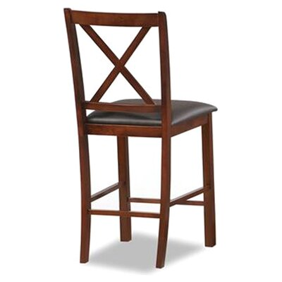 Crossback Bar Stool with Cushion Seat Height: 25