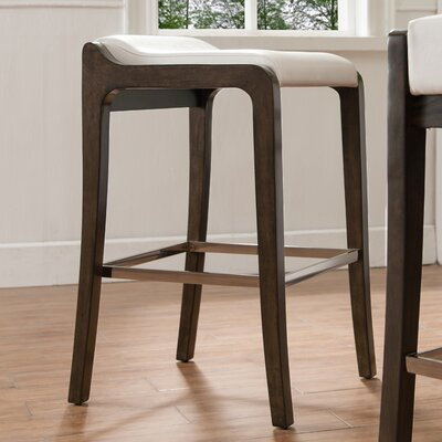 32 Bar Stool Finish: Buffed Pecan, Upholstery: Ivory