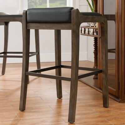 32 Bar Stool Finish: Graystone, Upholstery: Black