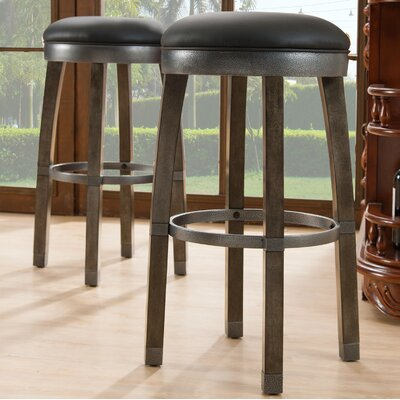 26 inch Swivel Bar Stool Finish / Upholstery: Graystone / Black
