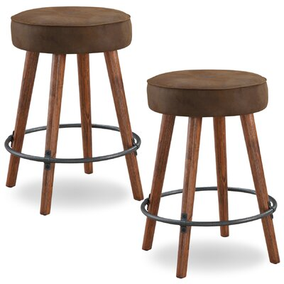Elk Falls Rustic Faux Leather 26 Swivel Bar Stool