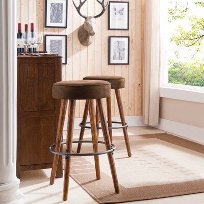 Elk Falls Rustic Faux Leather 30 Swivel Bar Stool