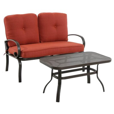 2 Piece Bench Seating Group with Cushion Finish: Terracotta