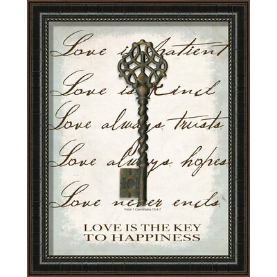 Love Is The Key Framed Graphic Art