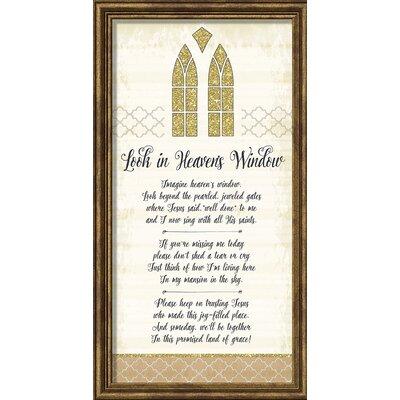 A Little Bit of Heaven 'Look in Heaven's Window' Framed Textual Art 12436