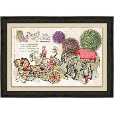 'Circus Vintage Post Card' Framed Graphic Art Print on Canvas BNRS6446 39987537