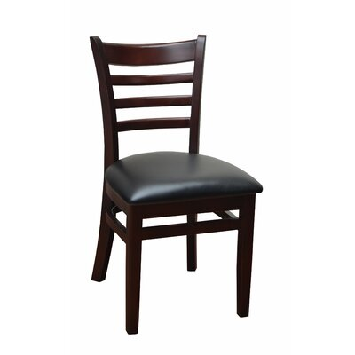 Side Chair Upholstery: Black, Finish: Mahogany