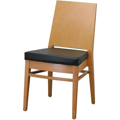19 Side Chair Finish: Natural, Upholstery: Black