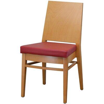 19 Side Chair Finish: Natural, Upholstery: Red