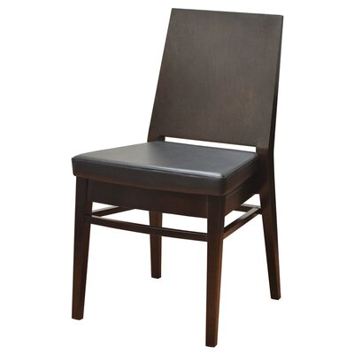 19 Side Chair Finish: Walnut, Upholstery: Black