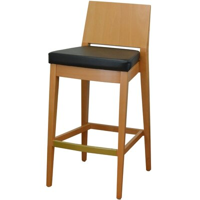 31 Bar Stool Finish: Natural, Upholstery: Black