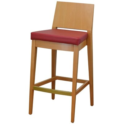 31 Bar Stool Finish: Natural, Upholstery: Red