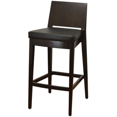 31 Bar Stool Finish: Walnut, Upholstery: Black