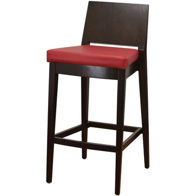 31 Bar Stool Finish: Walnut, Upholstery: Red