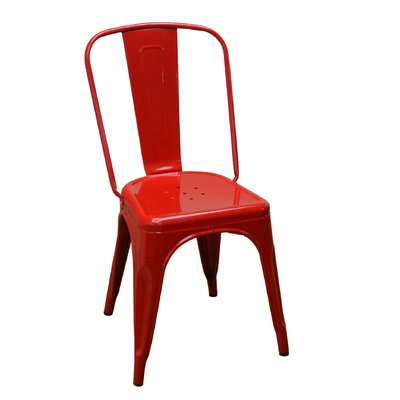 Stackable Steel Side Chair Finish: Red