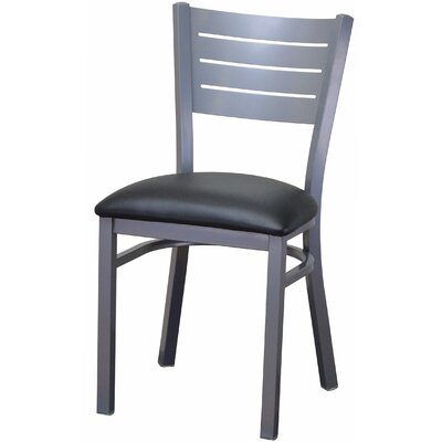 Wide Slat Steel Ladder Back Upholstered Dining Chair Upholstery Color: Black