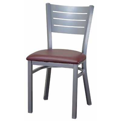 Wide Slat Steel Ladder Back Upholstered Dining Chair Upholstery Color: Burgundy