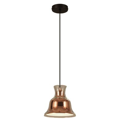 Salute 1-Light Inverted Pendant Shade Color: Copper
