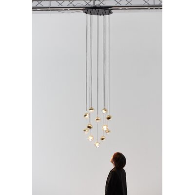 Dora 12-Light LED Cluster Pendant Finish: Brass