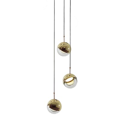 Dora 3-Light Cluster Pendant Finish: Brass