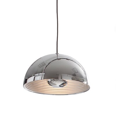 1-Light Dome Inverted Pendant Shade Color: Chrome, Size: Large