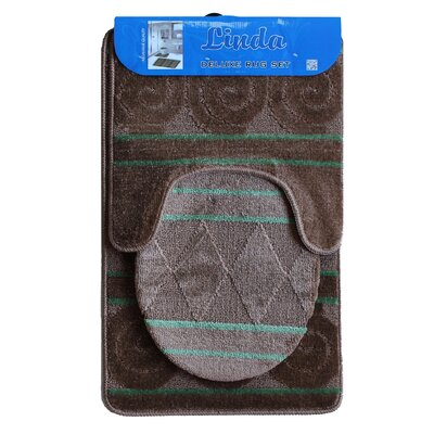 Linda Bath 3 Piece Mat Set Color: Brown