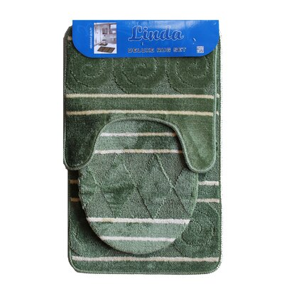 Linda Bath 3 Piece Mat Set Color: Green