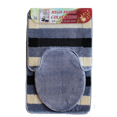 High Mono Bath 3 Piece Mat Set Color: Gray