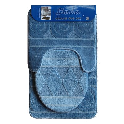 Linda Bath 3 Piece Mat Set Color: Blue