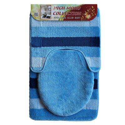 High Mono Bath 3 Piece Mat Set Color: Blue