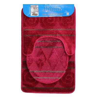 Linda Bath 3 Piece Mat Set Color: Rose
