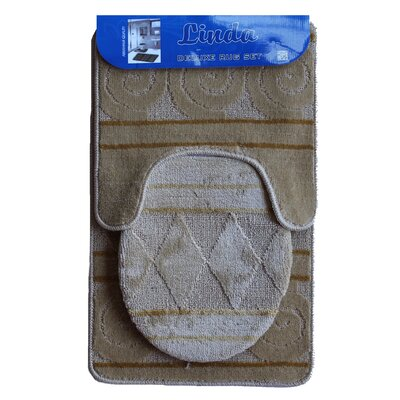 Linda Bath 3 Piece Mat Set Color: Light Brown