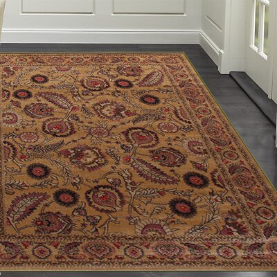 Gulistan Power Loomed Golden Area Rug Rug Size: Runner 2 x 7