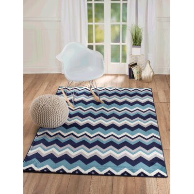 Bernal Navy Blue Area Rug Rug Size: 76 x 106